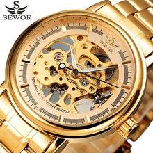 Sewor completo oro del acero inoxidable del reloj de hombre diseñador de relojes para hombre de primeras marcas de lujo reloj mecánico esquelético del reloj del Relogio