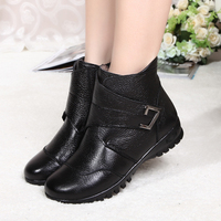 Women Winter Genuine Leather Boots Female Hook Loop Snow Ankle Boots Platform Plush Inslose Warm Botas