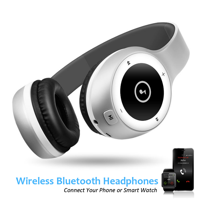 T8 Foldable Wireless Bluetooth Headphones Support TF Answer Call Mic AUX in Stereo Music Power Reserve for Phone Smart Watch