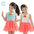 2017Baby Girl Summer Layered Tutu Dress Kids Sleeveless Three Flowers Patchwork Lolita Style Dresses Girls Cotton O-neck Clothes