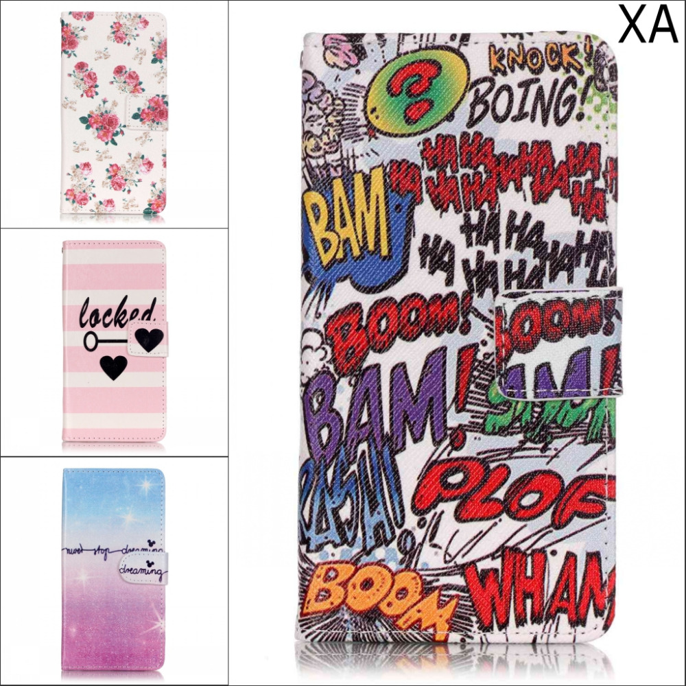 Fashion Cute cartoon Flower Owl butterfly wallet card pu leather stand case cover for Sony X XA Xperia XA Dual With pen
