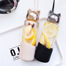 Cute Cat Ears Shaped Leak Proof Glass Water Bottle