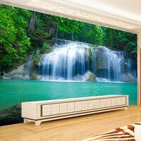 ירוק אגם נוף טבע מפל ציור קיר תמונה רקע ספת טלוויזיה בסלון לחדר שינה לא ארוג התאמה אישית 3D טפט