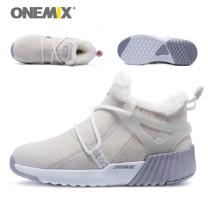 ONEMIX New Winter Men's Boots Warm Wool Sneakers Outdoor Unisex Athletic Sport Shoes Comfortable Running Shoes Sales 15