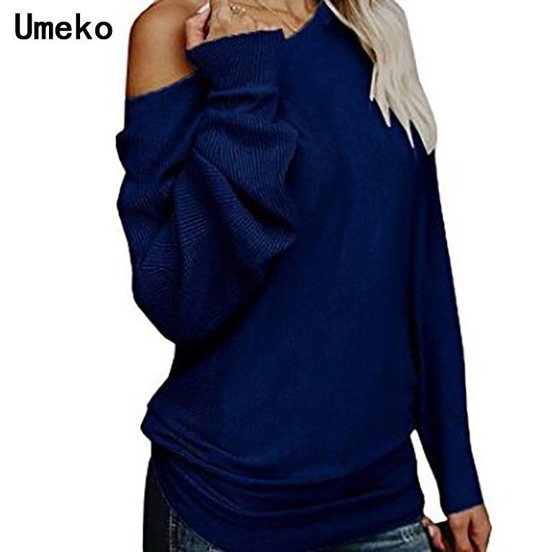 Umeko Frauen Pullover 2018 Winter Frauen Outfits Casual Slash Neck Solid Pullover Jumper Stricken Tragen Maglioni Weg Von Der Shoudler