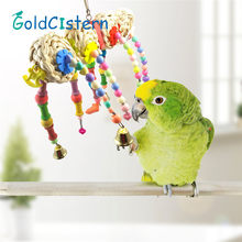 High quality Bird Toys Parrot Toys Ball Hanging Cockatiel Parakeet Swing Parrot Cage Pet Bird Bites Climb Chew Toys for pet(China)