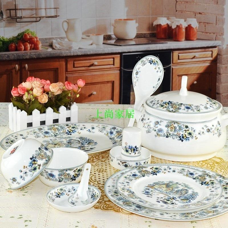 Guci chine vaisselle Jingde zhen 56 pièces os chine vaisselle section ronde Zi yu shan zhuang glaçure