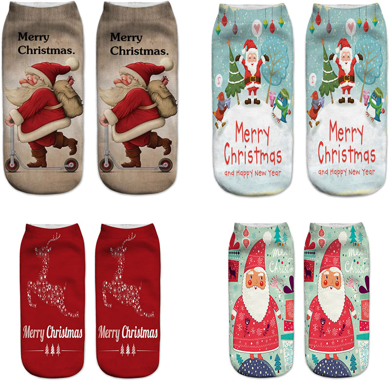 New Year Gift Women 3D Print Christmas Socks Novelty Design Xmas Socks Fun Santa Claus Snowman Low Cut Ankle Socks Calcetines