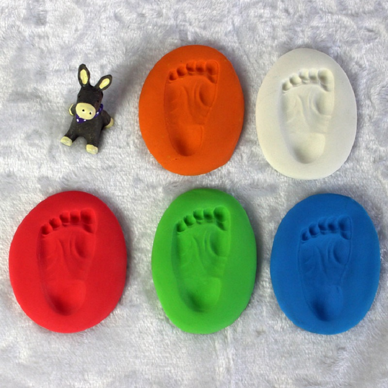 Baby Care Air Drying Soft Clay Baby Handprint Footprint Imprint Kit Casting Parent-child Hand Inkpad Fingerprint