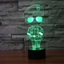 LED 3D Touch light Lamp Light For Cartoon Star Song Zhongji Police soldier USB Colorful Visual Illusion Lamp Light Gift IY803400