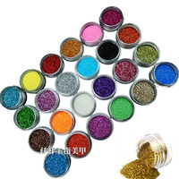 New 24 Color Metal Glitter Nail Art Dust Tool Kit Acrylic UV Powder Dust Gem Polish