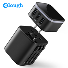 Elough Universal Charger Type C Travel USB Socket Fast Charge EU US UK AU Plug for Mobile Phone Multi Adapter