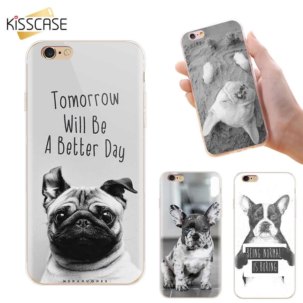Cão Caso de Impressão Para iPhone X 8 BEIJOS 7 6 6 s Plus Casos Casos de Telefone Bonito Engraçado Do Cão Husky para o iphone XS Max XR 5S SE Conchas