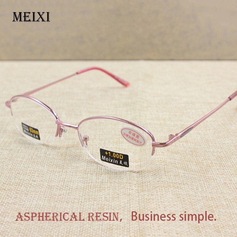 Womens Half Alloy Frame Glass Lenses Reading Glasses Femal Eyewear +1.0 +1.5 +2.0 +2.5 +3.0 +3.5 +4.0