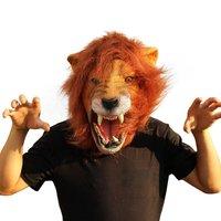 ฮัลโลวีPropsผู้ใหญ่โกรธหัวสิงโตหน้ากากสัตว์เต็มน้ำยางยางซิลิโคนใบหน้าหน้ากากPropหัวร้อ