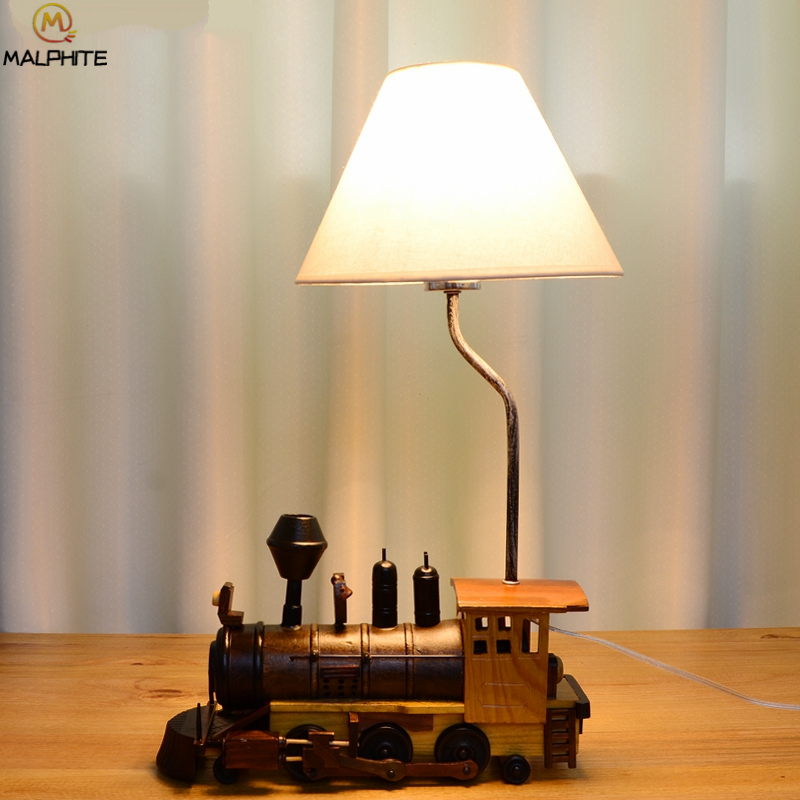 Modern Wooden Train Table Lamp for Living room luminaire White Lampshade Wooden Lamp Table Bedroom Home Decor Table Lamp in LED Table Lamps from Lights Lighting