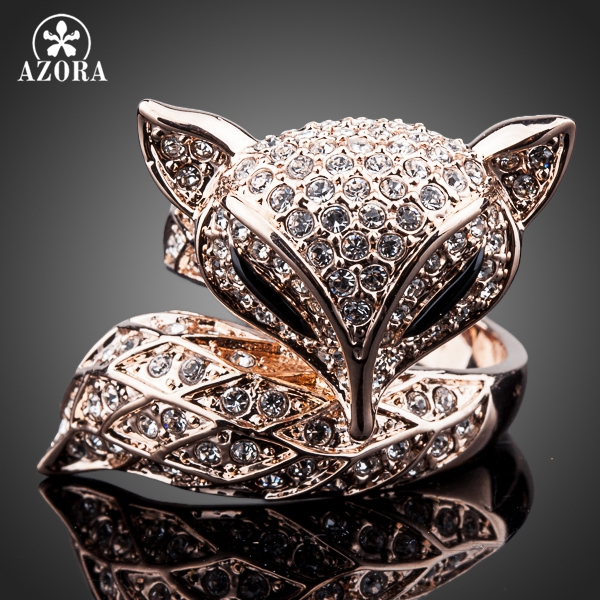 AZORA New Rose Gold Color with Rhinestones My Fox Beauty Fancy Ring TR0098