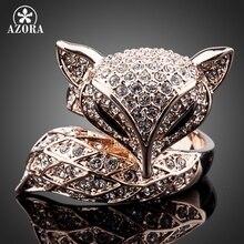 AZORA Nueva Rosa Color Oro con Diamantes de Imitación Mi Zorro de Lujo de La Belleza TR0098