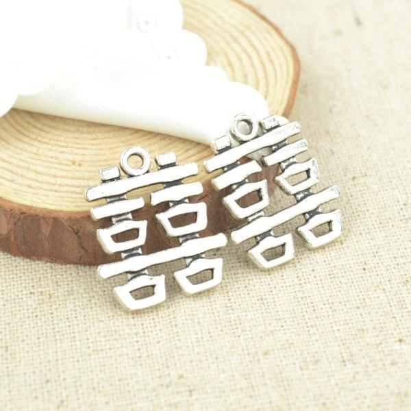 10 Stücke 24*21mm Antike Tibetanische Silberne Charme Armband Halskette Anhänger Neue Mode-legierung Charme Doppel Glück 2373 Schrumpffrei