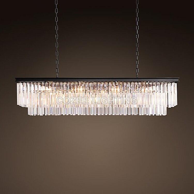 Vintage LED Lustres Éclairage Moderne Cristal Prisme Lustre Lumière lustre de cristal pour Salon Salle À Manger Restaurant Décor