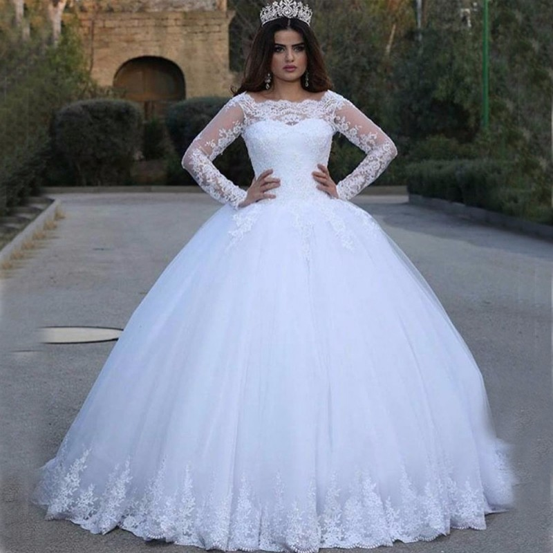 Giant Ball Gown Wedding Dress: Long Sleeve Princess Lace Ball Gown Floor Length Dresses