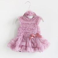 Newborn Baby Girl Dresses Princess Style Summer Girls Romper Dress Headband Pink Infant Party Costume Dresses