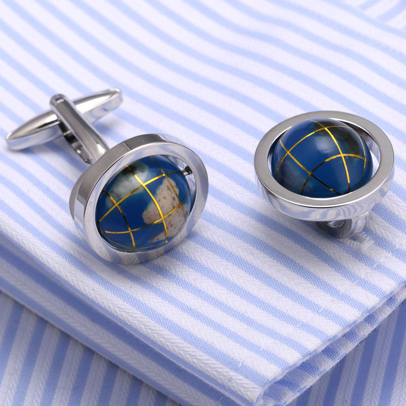 New Arrival Men's Fashion Cufflink  globe Design cufflinks Funny Cufflings Father's day gifts 367