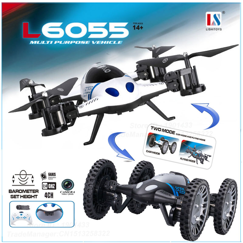 Newest High Hold Mode 2 in 1 Land Or Sky RC Quadcopter Flying Car with 2.0MP Camera Drone Remote Control Toys f809 2 in 1 rc flying car 4wd 2 4g 4ch remote control drone with wifi camera rc quadcoter headless mode 360 degree vs x25 x9