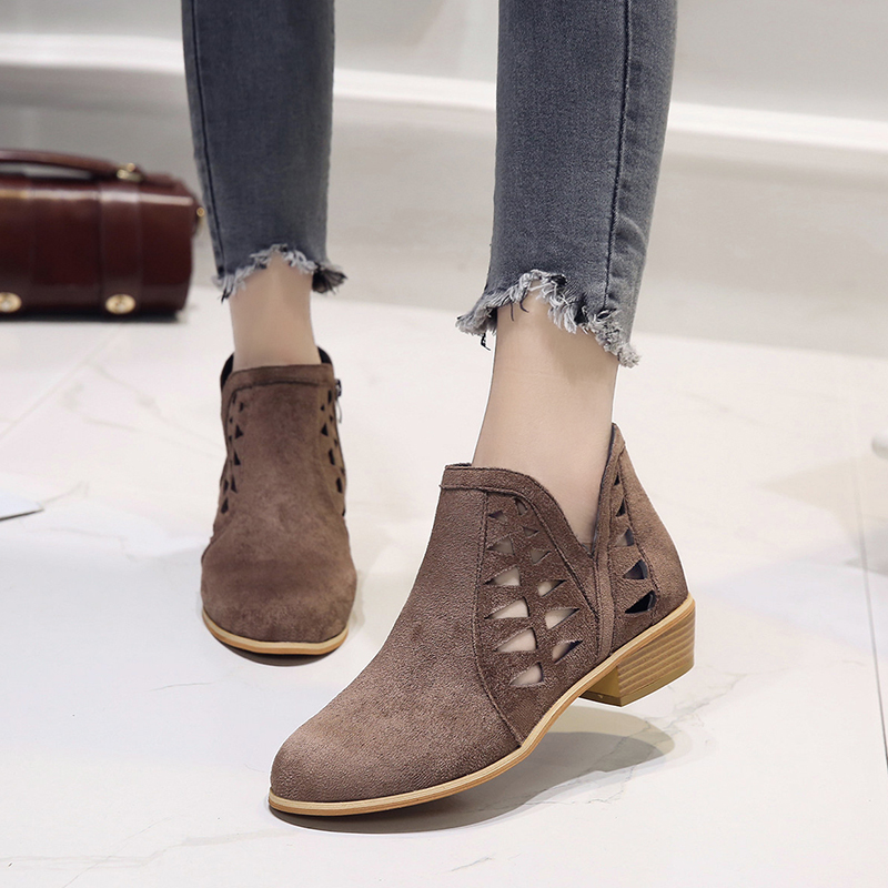 Rimocy 2019 spring hollow out single shoes woman faux suede round toe square heels pumps women 4cm med heels casual shoes femme 36