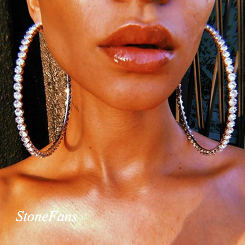 StoneFans Shiny Big Rhinestone Hoop Earrings for Women Statement Exaggerated Round Circle Earrings Hoop Jewelry Accessories