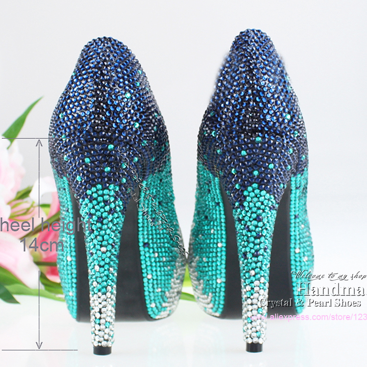 FREE SHIPPING Handmade Ladies Fashion Pumps Crystal Rhinestone Teal Wedding Shoes Peep Toe In Womens From On Aliexpress