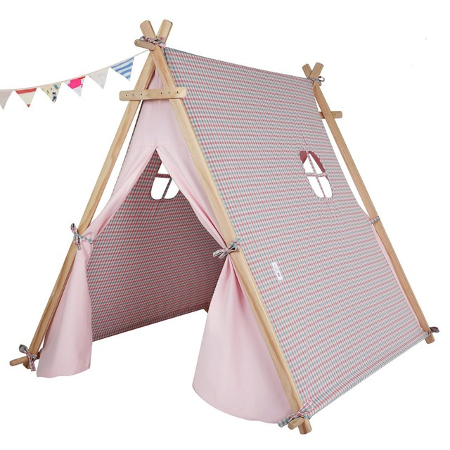 pink color children 39 s tent baby toy house children play tent cotton tents baby dollhouse teepee. Black Bedroom Furniture Sets. Home Design Ideas