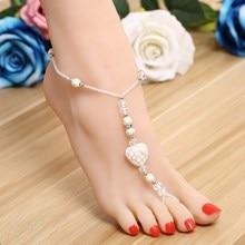 ZOSHI 2017 One Pcs Long Beach Summer Vintage Ankle Bracelet Sandal Sexy Leg Chain Female Boho White Heart Stone Anklet Jewelry
