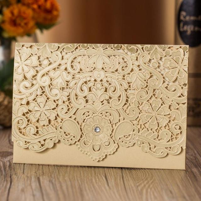 50pcs Lot Luxury Laser Cut Wedding Invitations Cards Envelope Elegant Birthday Party Invitation Event Supplier