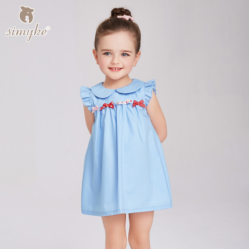 Simyke Girls Summer Dress 2018 New Kids Blue Sleeveless Dress For Girl Children's Pink Solid Clothing Kid Clothes D8128 graceful sleeveless pointelle solid color dress for women