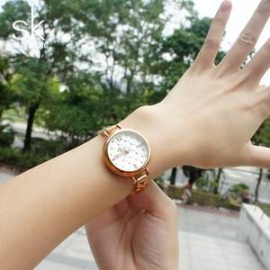 Image 2 - Shengke Merk Quartz Horloges Fashion Horloges Vrouwen Casual Jurk Luxe Gold Dames Rhinestone Waterdicht Reloj Mujer 2020