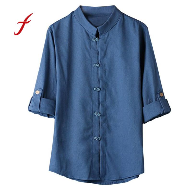 Hot Sale men clothes casual shirt Chinese Style Kung Fu men Shirt Tang 3/4 Sleeve linen Blouse Casual men Shirt xxxtentacio boho Рубашка