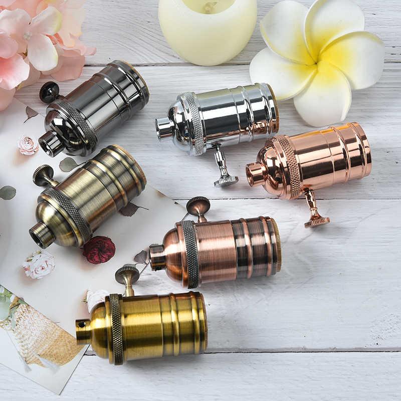 Accesorios colgantes de Industrial Retro, Lustre, accesorio de portalámparas Vintage, toma de lámpara E27, Base de bombilla con tornillo, portalámparas de aluminio