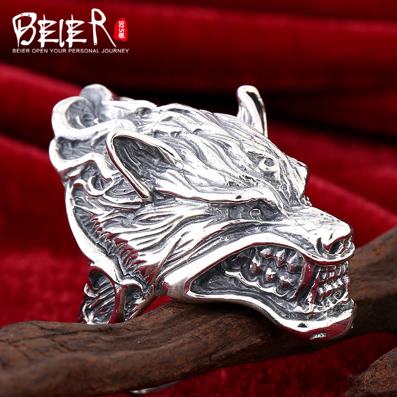 Beier 925 bijoux en argent sterling 2015 hommes rétro anneau dominateur anneau animal super grand dragon homme anneau D1234