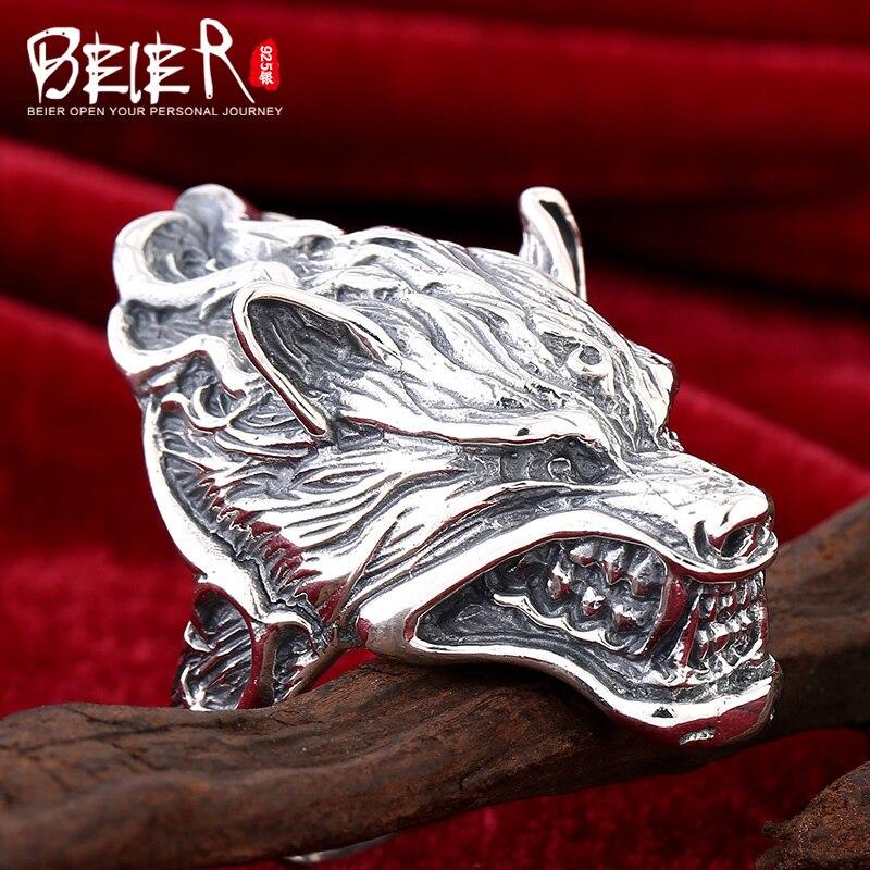 Beier bijoux 2015 bague homme rétro dominatrice anneau animal super grand dragon homme anneau D1234