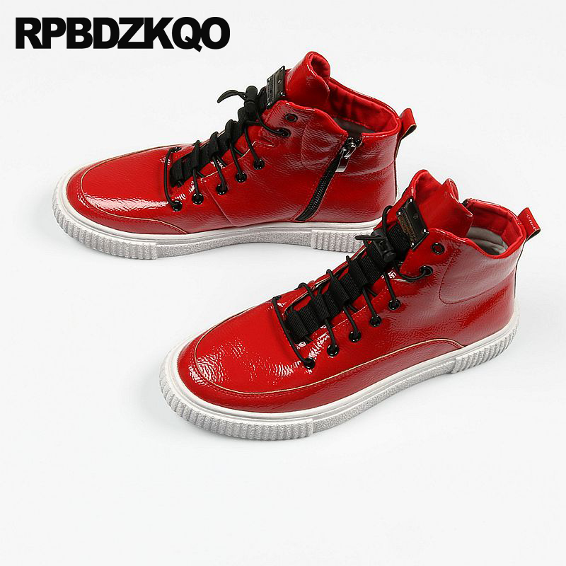 40bddf46 Red Hidden Height Increasing Shoes Trainers Skate Creepers Patent Leather Sneakers  Elevator Men Round Toe New