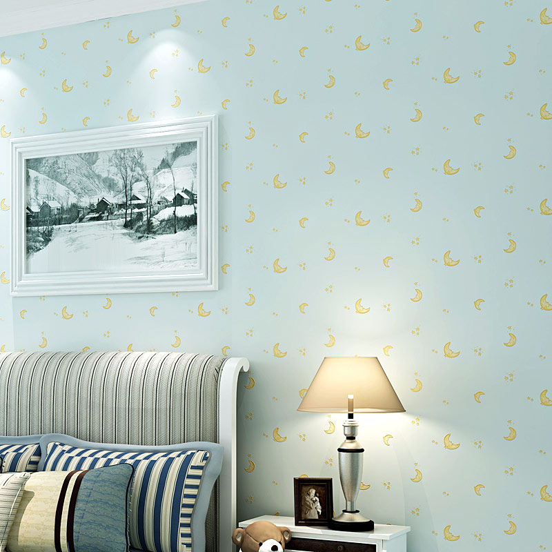 Us 20 64 50 Off Children S Room Non Woven Wallpaper For Kids Room Moon And The Stars Blue Boys Girls Bedroom Wall Decoration Wallpaper Roll 3d In