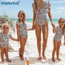 Семейные комплекты ванный комплект оборками леопардовый бикини 2019 Push Up сексуальный купальник, Детские купальники для девочек один шт. Монокини