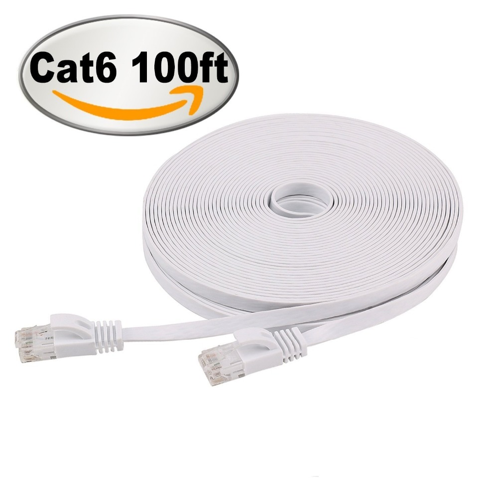 Cat 6 Flat Ethernet Cable 100ft White with Cable Clips Network Cable Fast Ethernet Patch Cable With Snagless Rj45 Connectors 30m belkin fastcat 5e snagless patch cable rj45 connectors 7 ft gray page 8