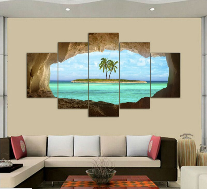 2017 Wall Art Oil Painting Unframed 5 Pieces cave sea island coconut ...