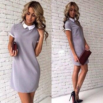 Women Office White Collar Dress