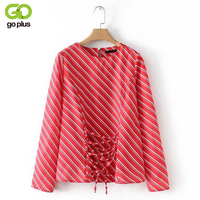 GOPLUS Red White Striped Women Blouses Strap Design Long Sleeves O Neck Shirt 2018 Spring Autumn