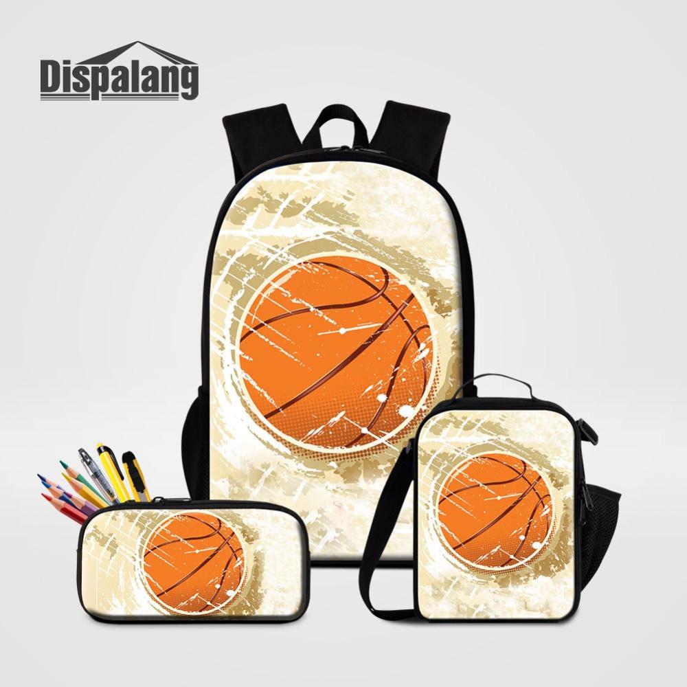 3Pcs Set Mens Backpacks with Pencil Bag Cooler Bag Children Basketball Print School Bag For Teenager Student Schoolbag Moclila