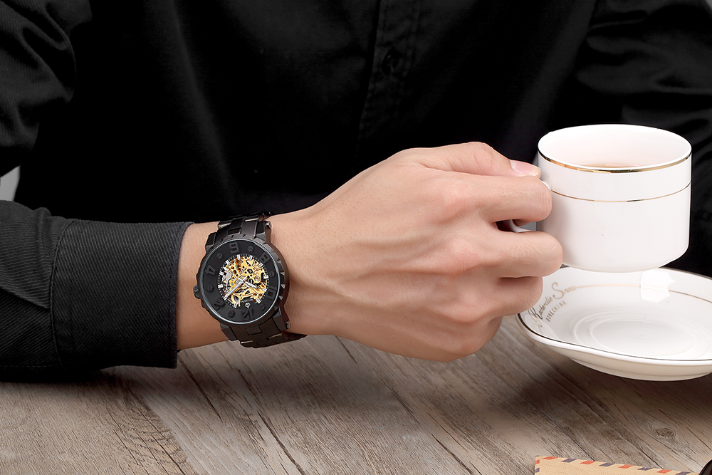 MG ORKINA Men Wristwatch Golden Skeleton Clock Mechanical Male Wrist Watch Black Relogio Masculino Automatic Zegarek MG. ORKINA Men Wristwatch Golden Skeleton Clock Mechanical Male Wrist Watch Black Relogio Masculino Automatic Zegarek Meski