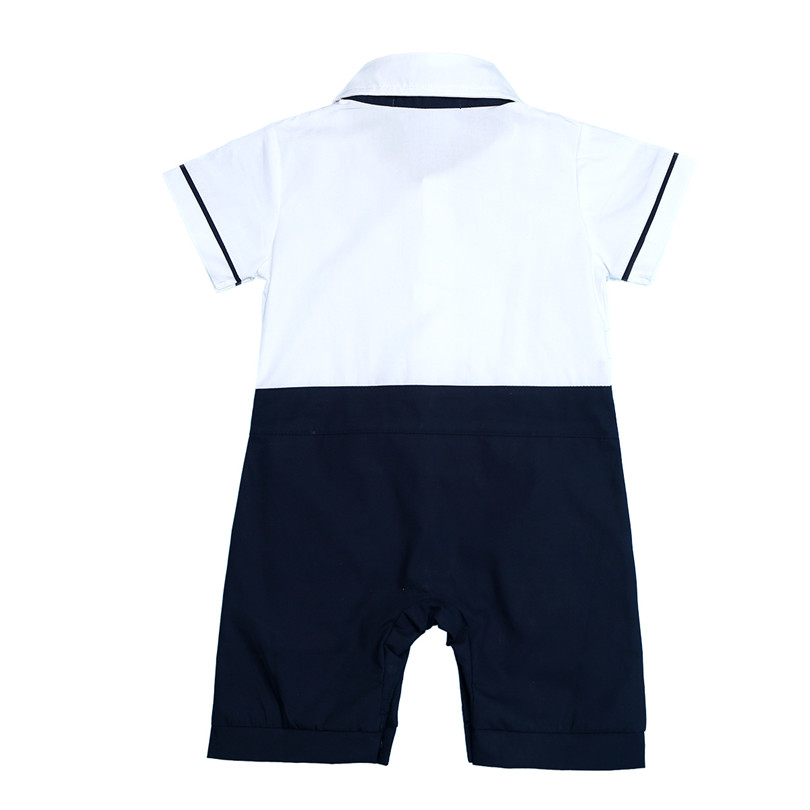 9f7faa34ec0f White and Navy Blue Tuxedo Baby Boys Short Sleeves Gentleman One-piece Romper  Jumpsuit sets Formal Tuxedo Suit Romper Jumpsuit